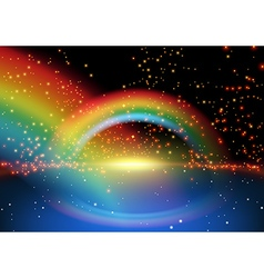 Rainbow and starry background vector