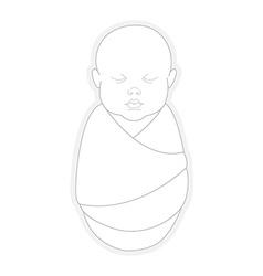 Sleeping swaddled newborn baby vector image