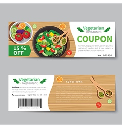 Vegetarian food coupon discount template vector