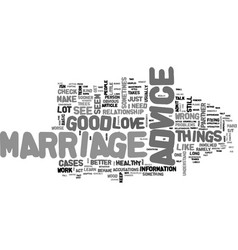 advice to keep your marriage healthy text word vector image