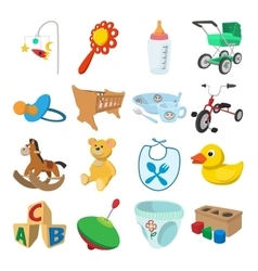 Baby cartoon icons set vector image