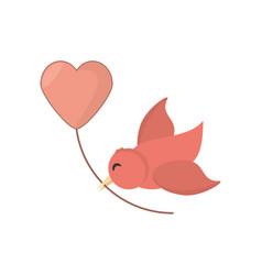 Bird with heart balloon decoration vector