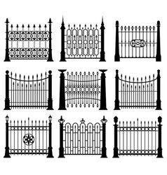 black and white iron gates and fences architecture vector image vector image