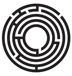 Circle maze symbol on white background round maze vector