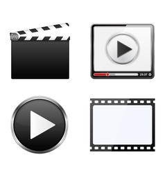Clapper board video player play button and film vector