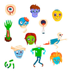 Colorful zombie scary cartoon character and magic vector
