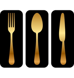 gold cutlery icon vector image
