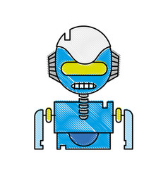grated robot face with technology robotic chest vector image