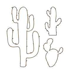 Hand drawn outline cactus set vector