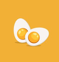 hard boiled sliced egg vector image