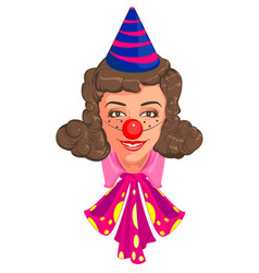 Head woman mom in clown attire vector