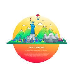 lets travel - line travel vector image