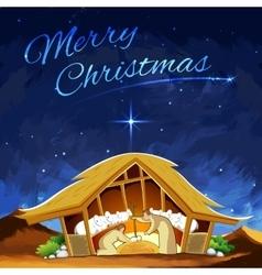 Nativity scene showing birth of Jesus on Christmas vector image
