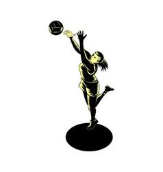 Netball player catching ball vector
