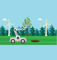 Robot machine plants a big tree vector