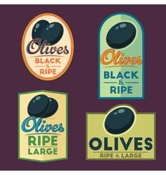 Set of black ripe Olives badges vector image vector image