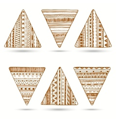 set of hand drawn ethnic triangle vector image