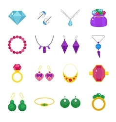 Set of jewelry flat icons vector