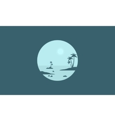 Silhouette of seaside and palm scenery vector image