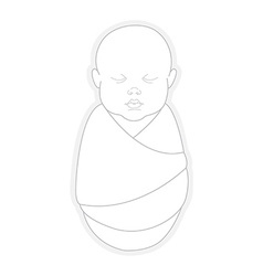 Sleeping swaddled newborn baby vector image