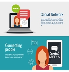 Social media network connected people banner vector