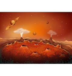 The outer space with planets vector
