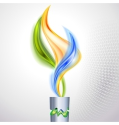 Torch with flame in colors of the brazilian flag vector