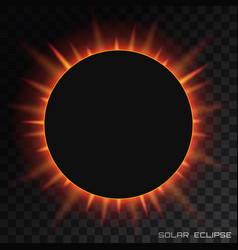 Total solar eclipse on transparent vector