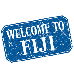 Welcome to fiji blue square grunge stamp vector