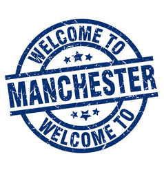 Welcome to manchester blue stamp vector