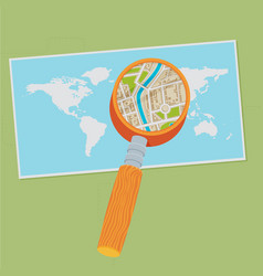 World map and magnifying glass flat vector
