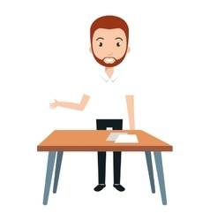 Young man teacher character with table vector