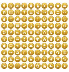 100 nursery school icons set gold vector