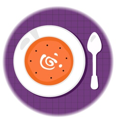 Halloween pumpkin orange soup in circle vector