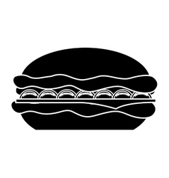 Delicious hamburger fast food icon vector
