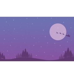 Train santa on the sky scenery of silhouettes vector