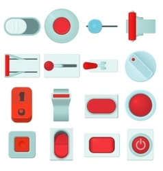 On off switch web buttons icons set cartoon style vector image