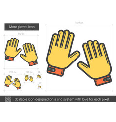 Moto gloves line icon vector