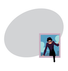Thief burglar in black disguise breaking into vector