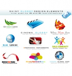 2d and 3d design icons vector