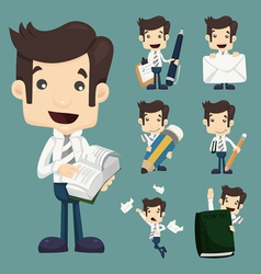 Set of businessman characters poses office worker vector