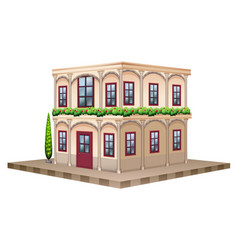 3d design for building with red windows and door vector