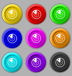 Radar icon sign symbol on nine round colourful vector
