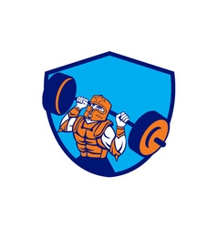 Knight lifting barbell crest retro vector