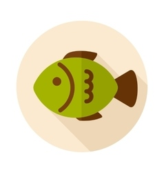 Fish flat icon with long shadow vector
