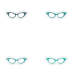 Set of paper stickers on white background glasses vector