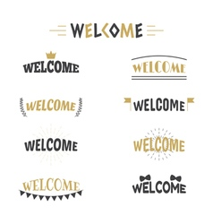 Collection of 9 welcome labels emblems stickers or vector