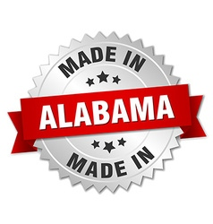 Made in alabama silver badge with red ribbon vector