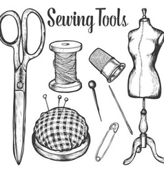 Sewing tools set vector