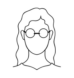 A woman with blond hair with glassesa blind woman vector